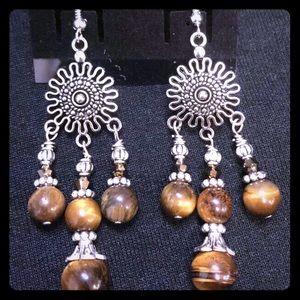 KarmaKittenCo TigersEye&SwarovskiCrystal Earrings